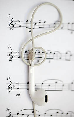 Photograph - Earphone And Music Note by Azad Pirayandeh