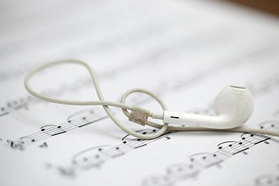 Photograph - Earphone And Music Notes by Azad Pirayandeh