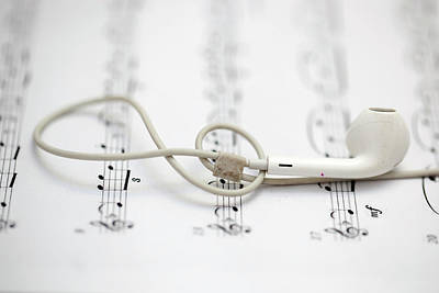 Photograph - Earphone And Symphony Note by Azad Pirayandeh