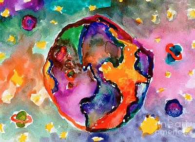Painting - Earth by Alicia Hanson Age Ten