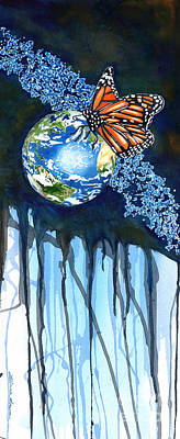 Painting - Earth And Butterfly by LeAnne Sowa
