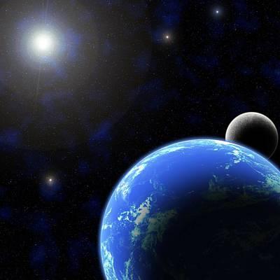 Digital Art - Earth And Moon by Emiliano Giardini