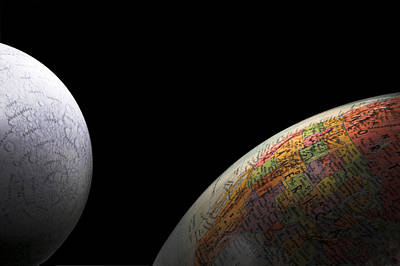 Earth And Moon Print by Rob Byron