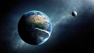 Aerial Digital Art - Earth And Moon Space View by Johan Swanepoel