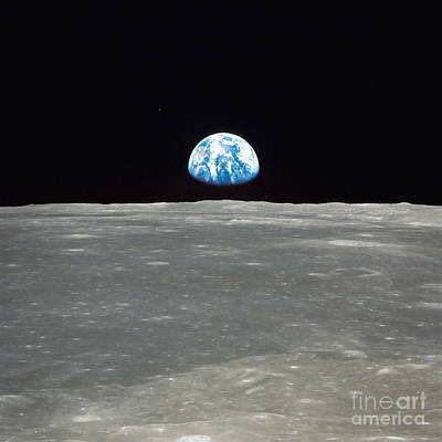 Earth And The Moon Art Print by Stocktrek Images