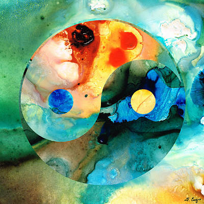 Age Painting - Earth Balance - Yin And Yang Art by Sharon Cummings
