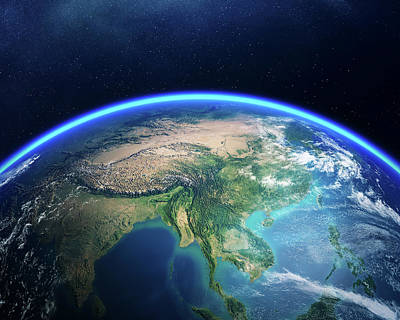 Photograph - Earth From Space Asia View by Johan Swanepoel