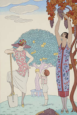 Grape Drawing - Earth by Georges Barbier