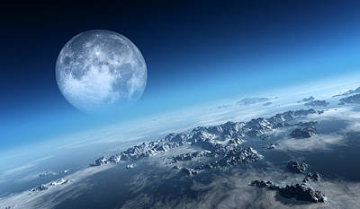 Moon Digital Art - Earth Icy Ocean Aerial View by Johan Swanepoel