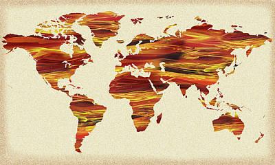 Painting - Earth Lines World Map by Irina Sztukowski