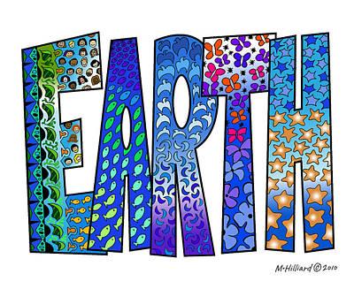 Kaleidoscope Drawing - Earth by Marilyn Hilliard