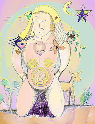 Drawing - Earth Mother by Julia Woodman