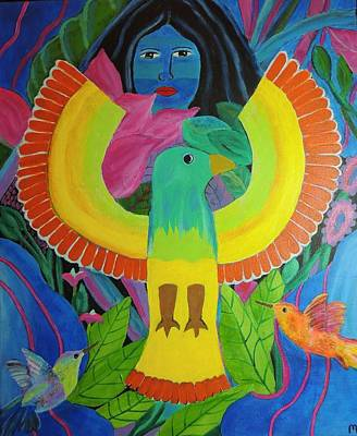 Condor Painting - Earth Mother by Mary Vorves