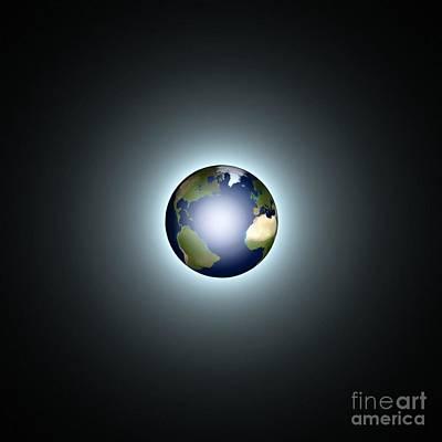 Luminescent Digital Art - Earth by Pet Serrano
