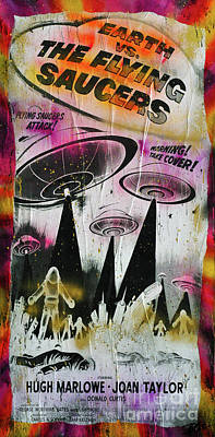 Earth Vs The Flying Saucers Art Print by Jd Kline