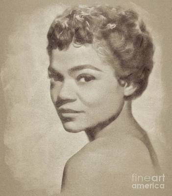 Musicians Drawings Rights Managed Images - Eartha Kitt, Vintage Actress and Singer Royalty-Free Image by Esoterica Art Agency