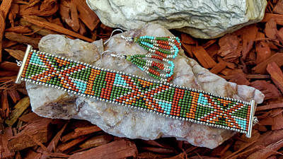 Jewelry - Earthen Beaded Loomed Bracelet And Earrings by Marilyn Burton