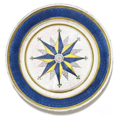 18th Century Painting - Earthenware Dish Of Eight Compass Directions by Celestial Images
