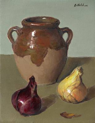 Painting - Earthenware Pot With Red And Yellow Onions by Robert Holden