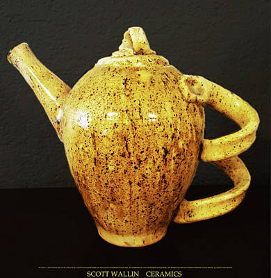 Raku Ceramic Art - Earthenware Teapot by Scott Wallin