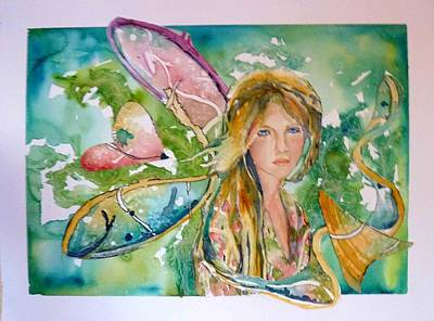 Art Print featuring the painting Earthly Butterfly by P Maure Bausch