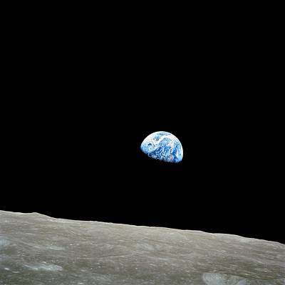 Planets Photograph - Earthrise Over Moon, Apollo 8 by Nasa