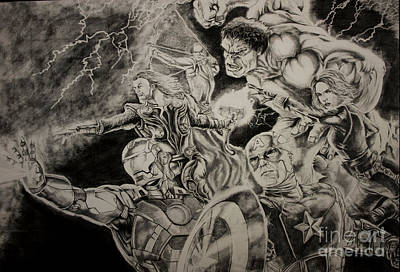 Ironman Drawing - Earth's Mightiest Heroes by Chris Volpe