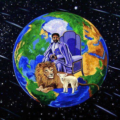 Rastafarian Painting - Earth's Rightful Ruler by EJ Lefavour