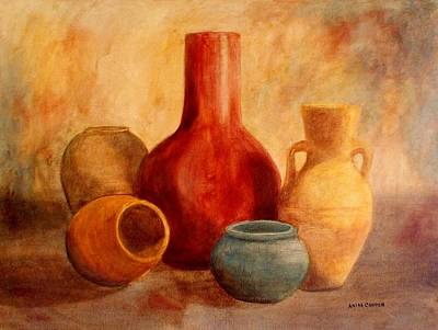 Painting - Earthtone Pottery by Anita Carden