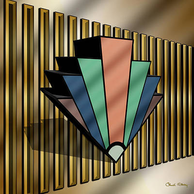 Digital Art - Earth Tones Chevron 3 D by Chuck Staley