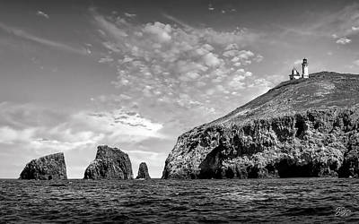 Photograph - East Anacapa Island And Lighthouse  Black And White by Endre Balogh