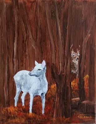Painting - East Aurora Albino Deer,  by Ellen Canfield