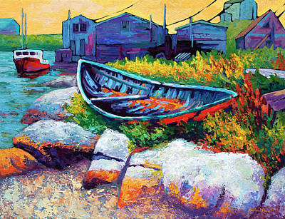 Wooden Painting - East Coast Boat by Marion Rose