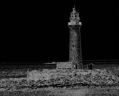 Photograph - East Coast Lighthouse Bw by Charles HALL