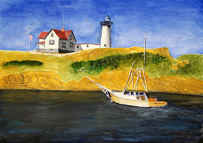 East Coast Lighthouse With Crab Boat Art Print by Robert Thomaston