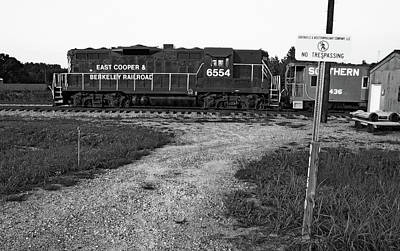 Photograph - East Cooper Berkeley Railroad #6554 B W 1 by Joseph C Hinson Photography