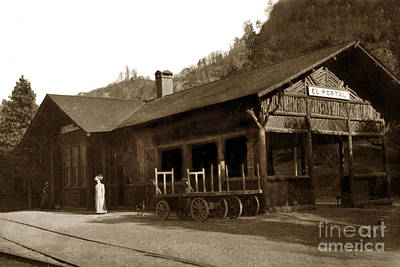 Photograph - East End Of The El Portal Depot. Note The Open Waiting Area Circa 1910 by California Views Archives Mr Pat Hathaway Archives