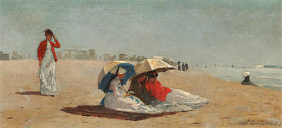 Hamptons Painting - East Hampton Beach Long Island by Winslow Homer