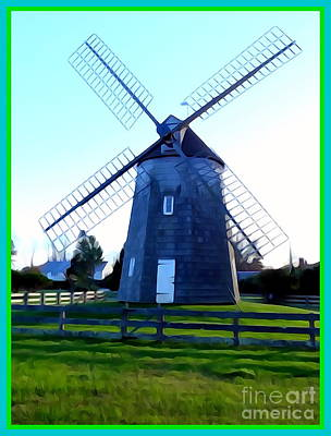 Digital Art - East Hampton Windmill by Ed Weidman