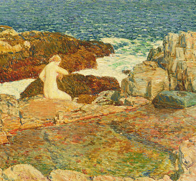 Of Sirens Painting - East Headland Pool by Childe Hassam