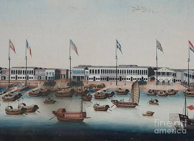 East India Painting - East India Factories In Canton by Celestial Images
