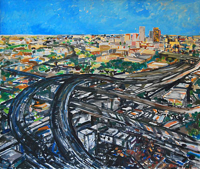 Painting - East L. A. Freeways by Zolita Sverdlove
