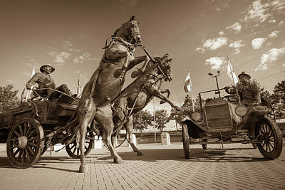 Photograph - East Meets West - Tulsa Route 66  - Sepia by Gregory Ballos