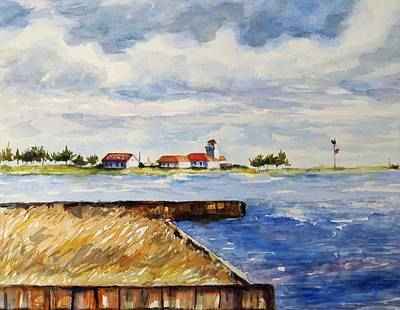 Cloudy Day Painting - East Moriches Coast Guard Station by Jean Costa