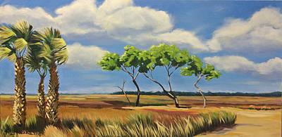 East Over The Marsh Art Print by Karen Macek
