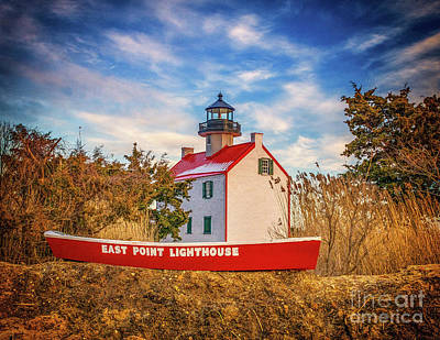 Photograph - East Point Light And Boat by Nick Zelinsky