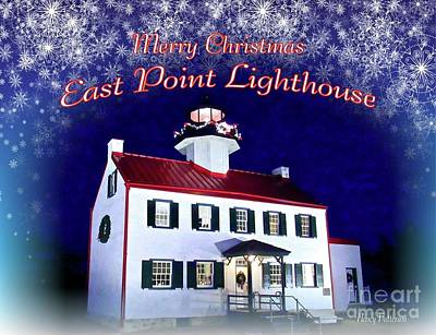 Mixed Media - East Point Lighthouse Merry Christmas  by Nancy Patterson