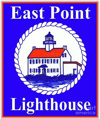 Mixed Media - East Point Lighthouse Road Sign by Nancy Patterson