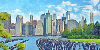 Digital Art - East River Pilings And New York City by Digital Photographic Arts