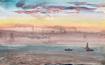 Painting - East River, Sunrise by Charles de Wolf Brownell